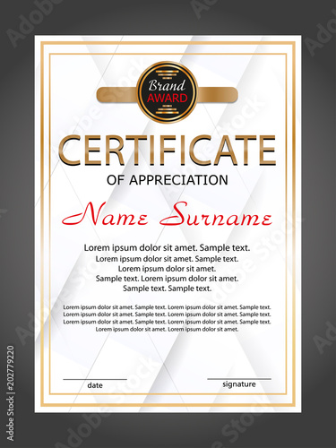 Vertical certificate appreciation or diploma template with