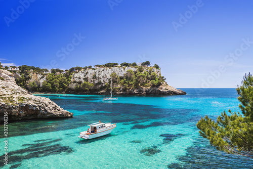 Beautiful bay with sailing boats and yachts, Cala Galdana, Menorca island, Spain Canvas Print