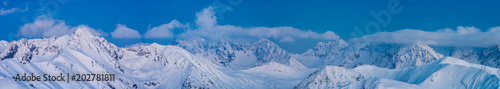 Fototapeta Winter evening in Tatra Mountains, alpine landscape of Poland and Slovakia obraz