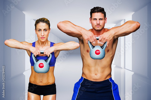 Spoed Foto op Canvas Fitness Bodybuilding couple against digitally generated room