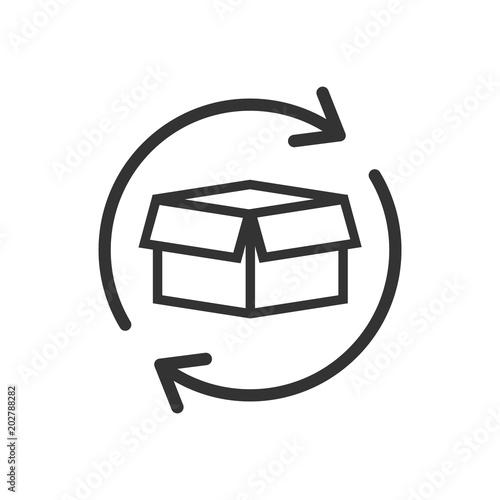 Fotografía Box package return icon in flat style