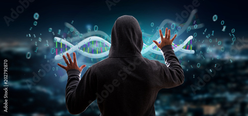 Papiers peints Secheresse Hacker activating a 3d rendering data coded Dna with binary file around