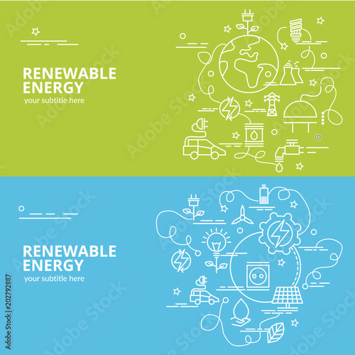 Fotografía  Flat colorful design concept for Renewable Energy