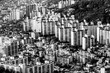 Typical residential areas of Seoul, South Korea, black and white image