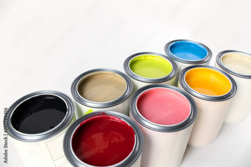 Fototapeta Eight colors of paint on white background