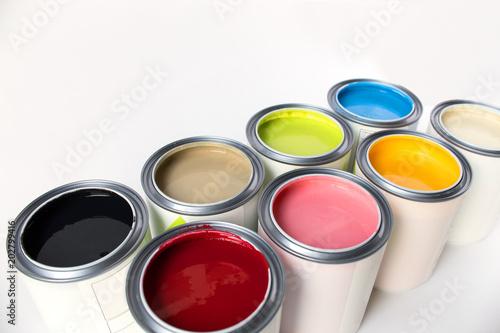 Fototapeta Eight colors of paint on white background obraz