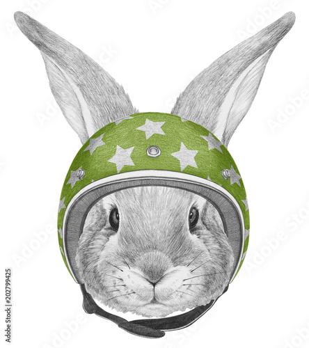 Naklejka premium Portrait of Rabbit with helmet, hand-drawn illustration