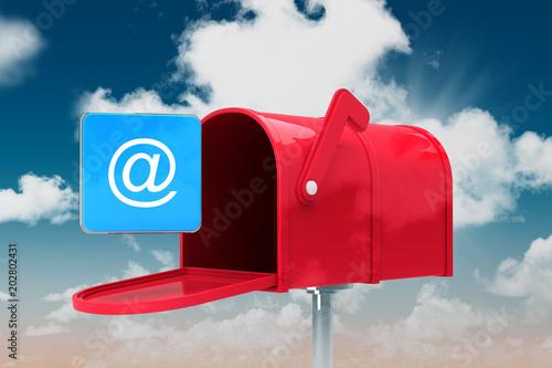 Obraz na plátně Red email postbox against blue sky