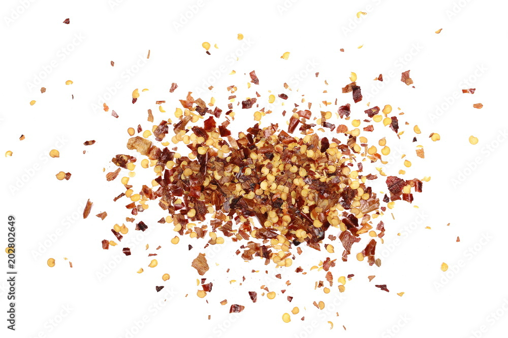 Fototapety, obrazy: Pile crushed red cayenne pepper, dried chili flakes and seeds isolated on white background, top view