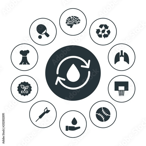 Fototapeta health, sports, nature Infographic Circle fill Icons Set. Contains such Icons as  eco, brain,  save, recycle,  league,  natural,  health,  tennis,  clean, human and more. Fully Editable. Pixel Perfect obraz na płótnie