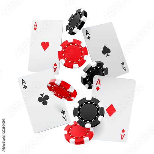 Fotografia Falling aces and casino chips with isolated on white background