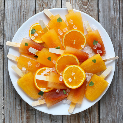 Poster Assortiment Orange ice pops