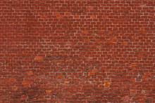 Old Red Brick Wall - Empty Facade, Retro Background