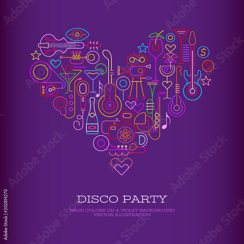 Door stickers Abstract Art Disco Party Heart banner
