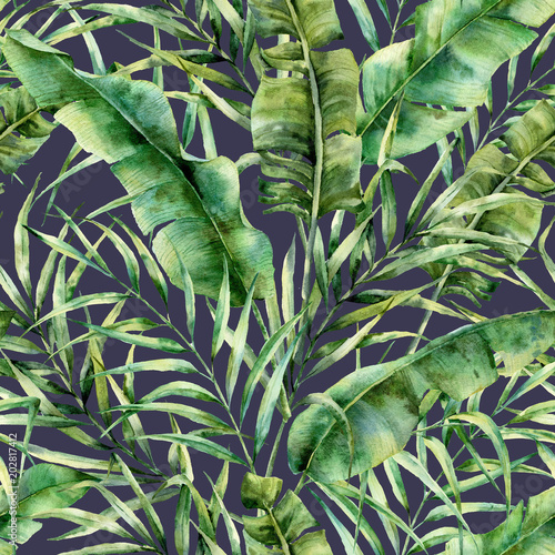 Foto-Vinylboden - Watercolor tropical tree leaves seamless pattern. Hand painted banana and coconut greenery exotic branch on dark blue background. Botanical illustration for design, fabric, print or background. (von derbisheva)