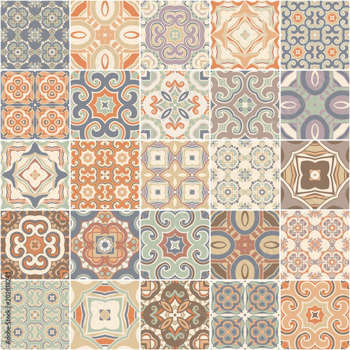 Patchwork seamless pattern. tiles azulejos. Vector.
