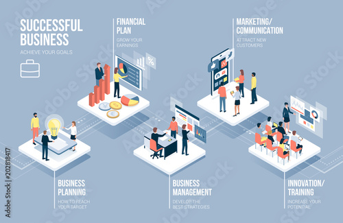 Business and technology infographic Wallpaper Mural