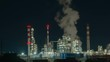 Oil refinery lights night view, industrial landscape background. Timelapse 4K