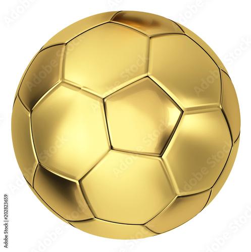 golden soccer ball 3d illustration isolated Fototapeta