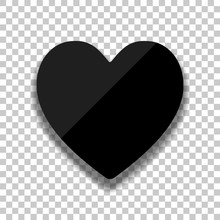Simple Heart Icon. Black Glass Icon With Soft Shadow On Transparent Background