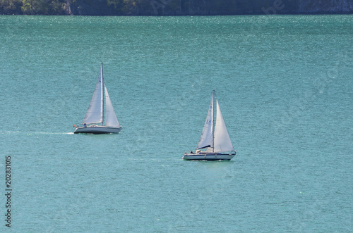 two sailing boats at Urnersee, switzerland