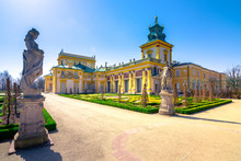 The Royal Wilanow Palace In Warsaw, Poland, With Gardens, Statues And River Around It.