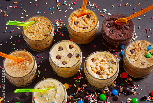Fotografie, Obraz  Variety of Edible Cookie Dough with Confetti Sprinkles and Candy