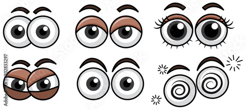 Six Diffrent Eyes Expression on White Background Fototapeta
