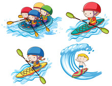 Kids Doing Water Sport On White Background