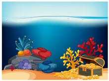 A Pirate Chest Under Ocean