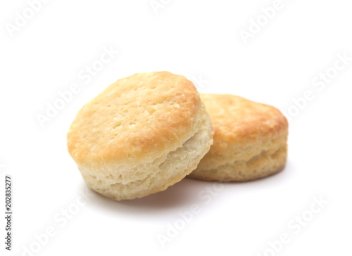 Photo Classic White Biscuits on a White Background