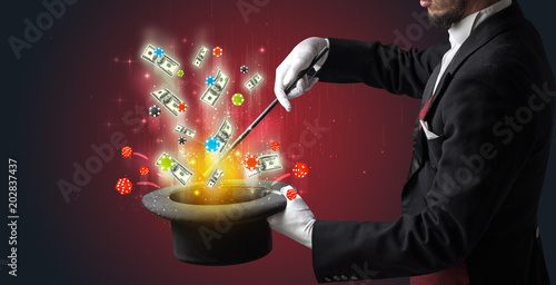 Poster  Illusionist conjure with magic wand gambling things from a cylinder