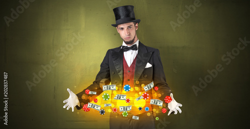 Poster  Young illusionist in tails hold between hands gambling staffs with super power
