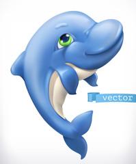 Zabawny delfin. Ikona wektor 3D