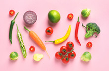 Flat Lay Composition With Fresh Vegetables And Fruit On Color Background