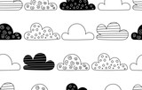 Clouds seamless pattern in Scandinavian style - 202845070
