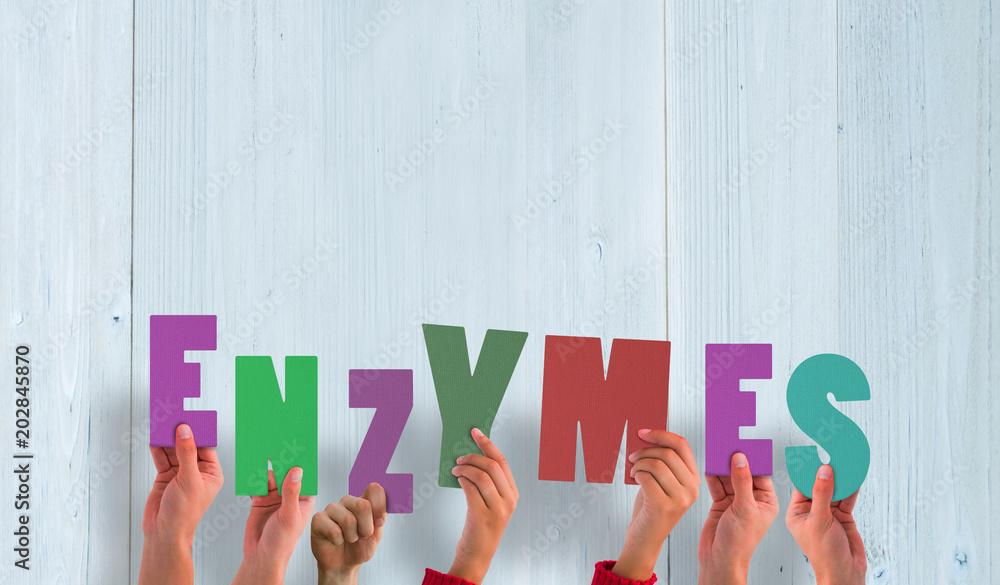 Fototapeta Hands holding up enzymes  against wooden planks