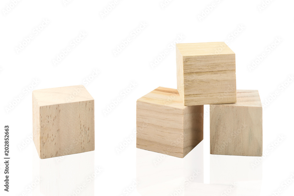 Fototapeta Wooden Building Blocks isolated against white background