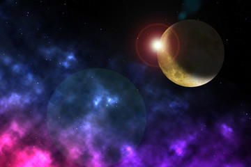 Science fiction illustration: nebulae, moon and space formations in a deep space with starry sky