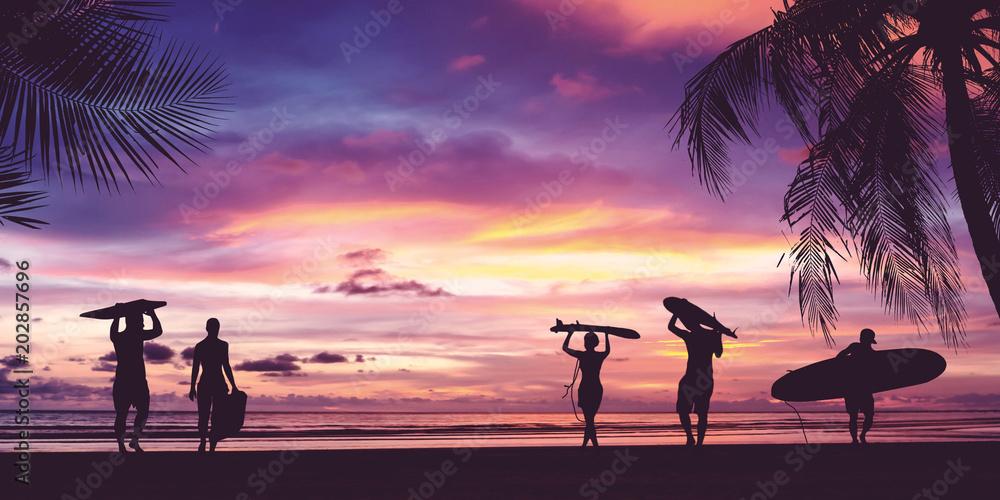 Fototapeta Silhouette of surfer people carrying surfboard