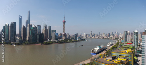 Plakat Fotografia lotnicza w Szanghaju panoramę panoramy