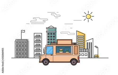 Beige food truck on stylized cityscape background Canvas Print