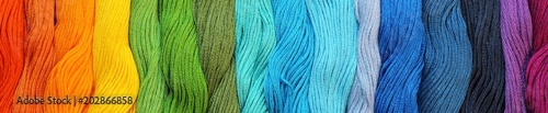 Fotografie, Tablou  Banner of Colorful cotton craft threads
