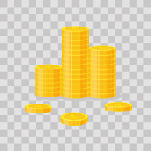 Coins Stack Vector Illustration, Icon Flat Finance Heap, Dollar Coin Pile. Golden Money Standing On Stacked, Gold Piece On Transparent Background - Flat Style
