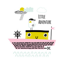 Cute Ship Print In The Hand Dr...