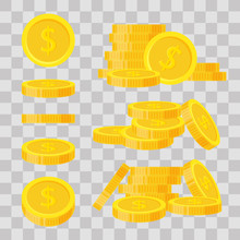 Set Coins Stack Vector Illustration, Icon Flat Finance Heap, Dollar Coin Pile. Golden Money Standing On Stacked, Gold Piece On Transparent Background - Flat Style