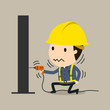 Electric shock, feel a shock, Vector illustration, Safety and accident, Industrial safety cartoon