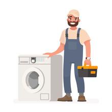 Happy Repairman And Washing Ma...