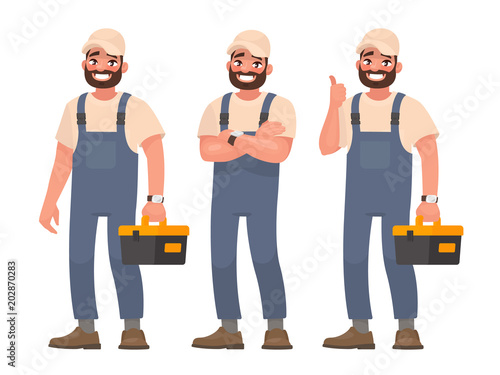 Happy repairman or mechanic with a toolbox. Set of different poses. Vector illustration