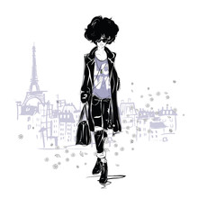 Fashion Girl In Sketch-style. ...